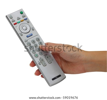 Hand holding TV remote control, clipping path included - stock photo