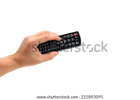 Hand holding TV remote control. Isolated on a white - stock photo