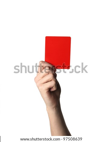 Hand holding up the Red Card isolated on white - stock photo