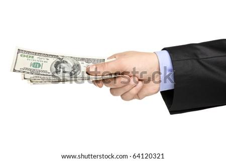 Hand holding US dollars isolated on white background - stock photo
