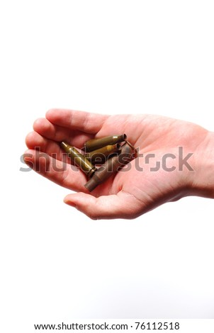 hand holding used shells on white - stock photo