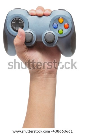 Hand holding video game controller isolated on white background - stock photo