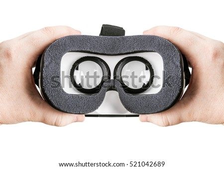 hand holding virtual glasses on a white background isolated