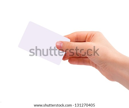Hand holding visiting card isolated on white background