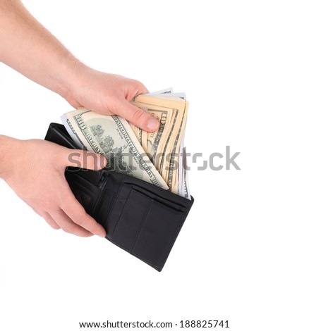 Hand holding wallet with dollar bills. Isolated on a white background.