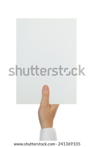 hand holding white blank A4 paper - stock photo