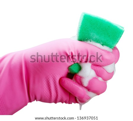 Hand holding white cleaning sponge isolated on white - stock photo