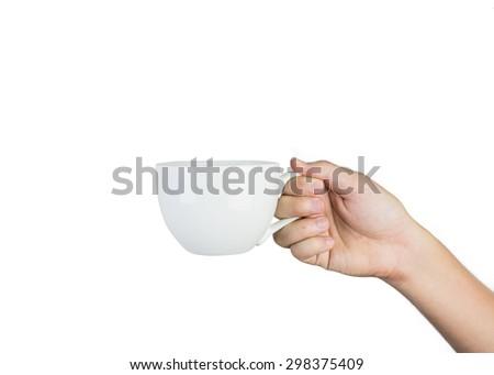 hand holding white mug isolated on white background - stock photo