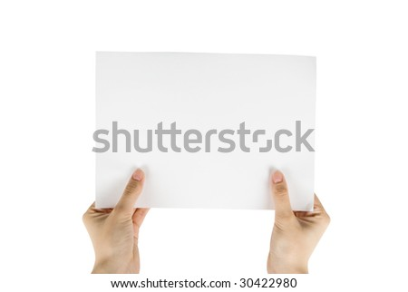 hand holding white paper isolated on white - stock photo