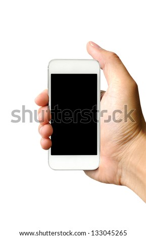 Hand holding white smart phone (Mobile Phone) - stock photo