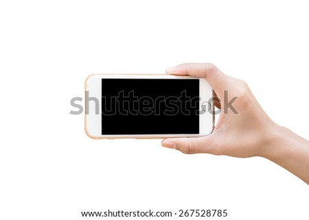 Hand holding White Smartphone with blank screen isolated on white background