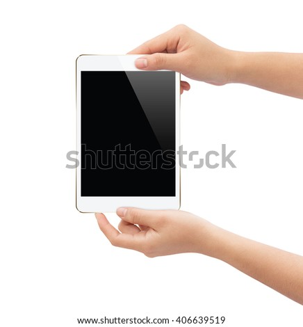 hand holding white tablet isolated on white clipping path inside easy add element - stock photo