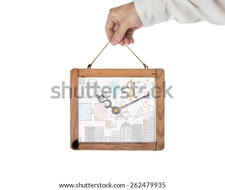 Hand holding whiteboard of dollar sign clock with business concept doodles isolated on white background. Time is money concept. Doodles in this image was created via Photoshop cc by me. - stock photo