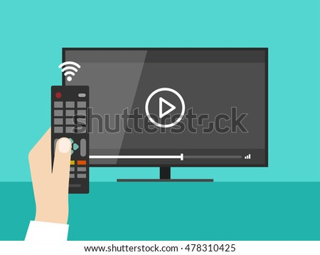Hand holding wireless remote control near flat screen tv watching video film, cartoon person watching movie on television display image