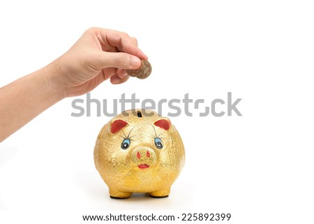 hand holding with coins and gold piggy bank isolated on white - stock photo