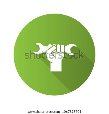 Hand Holding Wrench Flat Design Long Stock Illustration 1067895701