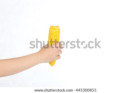 Hand holding yellow corn  on white background,selective focus - stock photo