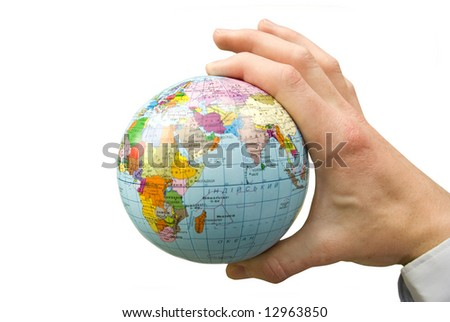 Hand holdings a globe on a whiteness