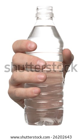 Hand holds a bottle of water isolated on white