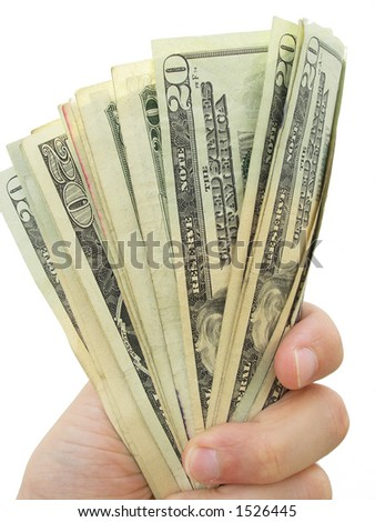 Hand holds a fan of American $20 bills. - stock photo