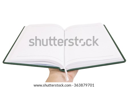 hand holds an open notebook isolated on white background  - stock photo