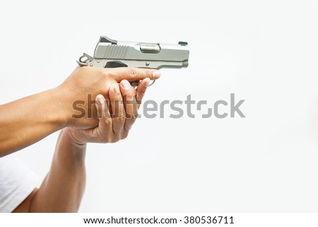 hand holds gun isolated ,selective focus gun