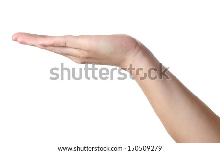 Hand holds nothing, with blank place, isolated on white background - stock photo