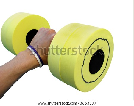 hand holds yellow dumbbell for aqua aerobics on the white background (isolated) - stock photo