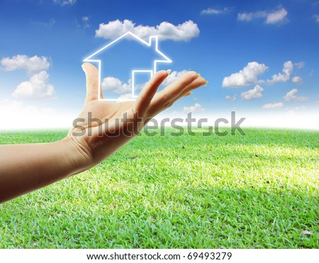 hand home - stock photo