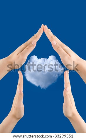 hand home gesture on the blue sky background