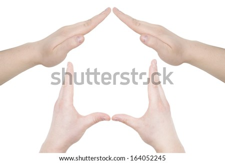 hand home symbol isolated over white background