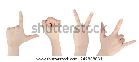 "hand human help show emblem ""L O V E"" white background - stock photo"