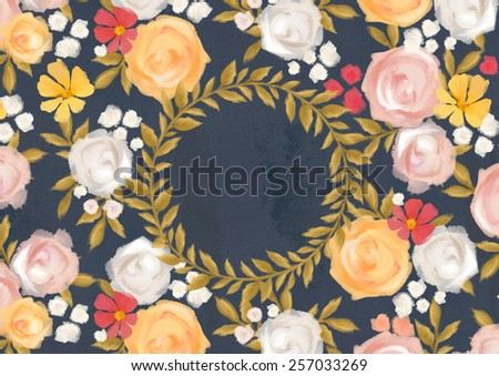 Hand illustrated floral card template - stock photo