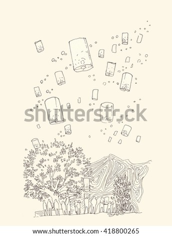 Hand illustration of floating lantern in loy krathong festival thaialnd - stock photo