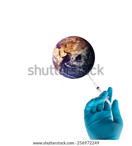 Hand in a blue glove holding syringe, vaccinate to the world, safe the world concept, Elements of this image furnished by NASA - stock photo