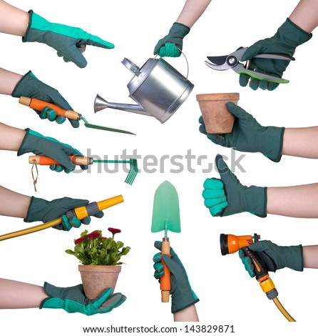 Hand in a glove holding gardening tools isolated on white background - stock photo