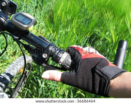 Hand in a glove on the handlebar of a mountain bike