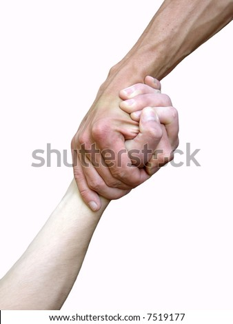 Hand in a hand on a background a rock - stock photo