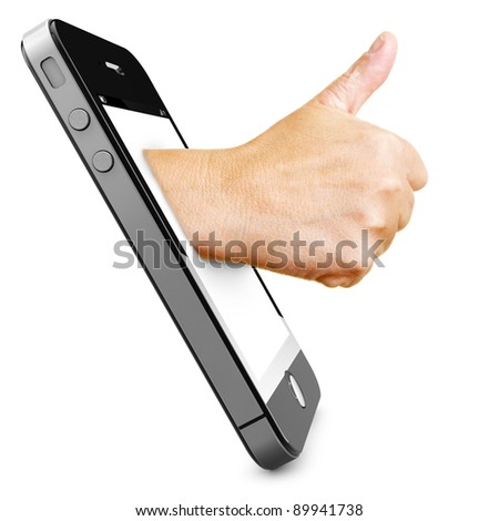 Hand in a smartphone display holding thumbs up - stock photo