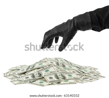 Hand in glove and money isolated on white background - stock photo