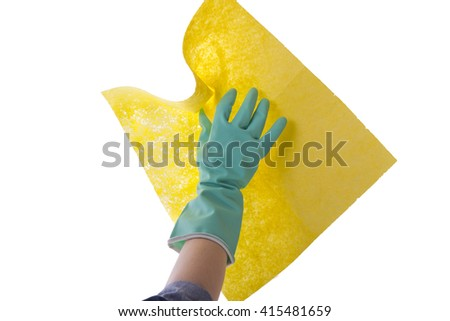hand in glove for cleaning - stock photo