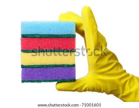 Hand in glove holding few washing sponges - amount of housework concept, isolated over white