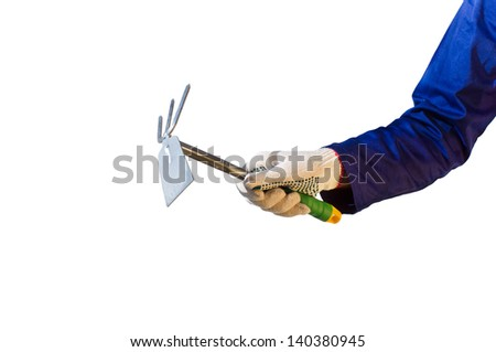 Hand in glove holding garden tool, isolated on white