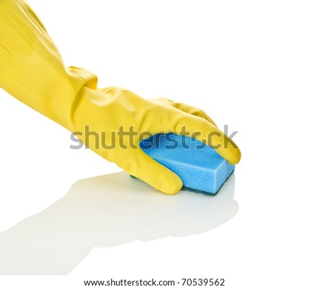 hand in glove with blue sponge