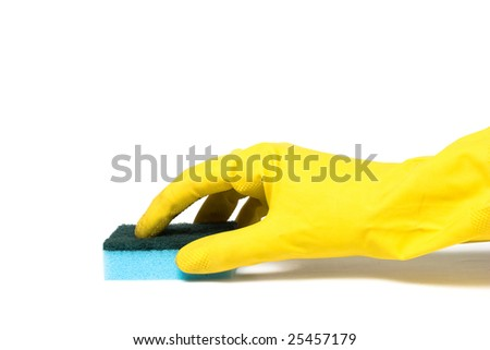 Hand in Glove with Sponge - stock photo