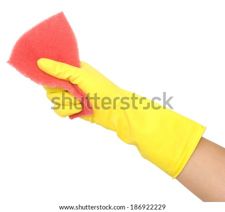hand in glove with sponge isolated on white
