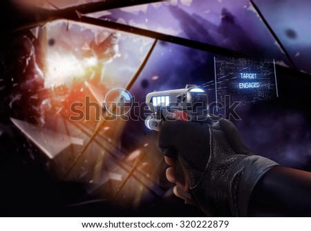 Hand in gloves holding a handgun. First person view hand in black leather gloves holding a futuristic neon fantasy handgun with neon indicators and pointers. - stock photo