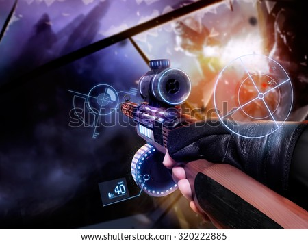 Hand in gloves holding machine-gun. First person view hand in black leather gloves holding a futuristic neon fantasy automatic machinegun with neon indicators and pointers. - stock photo
