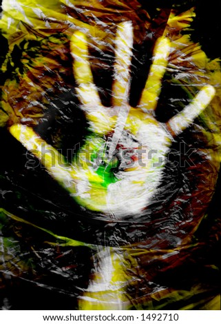 Hand in plastic bag texture (digital composition) - stock photo