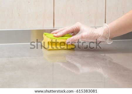 Hand Protective Glove Sponge Cleaning Kitchen Stock Photo (Royalty ...